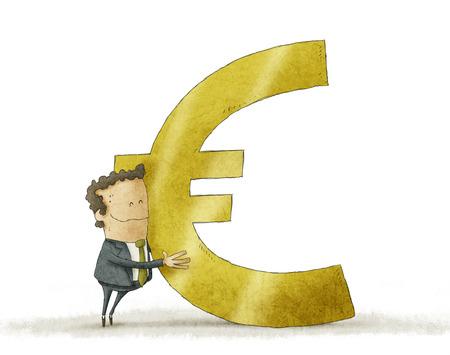 Hombre de negocios que abraza la muestra euro