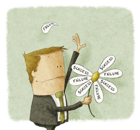 Businessman pull the failure and success petals off a daisy Stock Photo