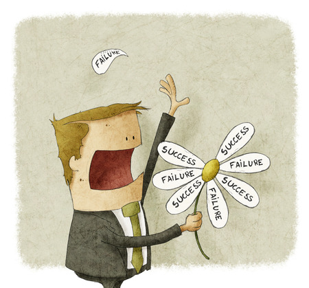 Businessman pull the failure and success petals off a daisy photo