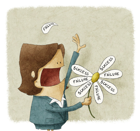 incertitude: Businesswoman pull the failure and success petals off a daisy