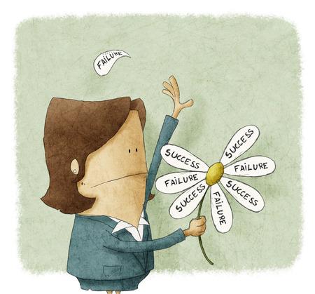 Zakenvrouw trekken de mislukking en succes bloemblaadjes uit een madeliefje Stockfoto