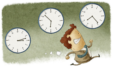 running out of time: Illustration of a businessman running out of time Stock Photo