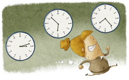 running out of time: Illustration of a businesswoman running out of time