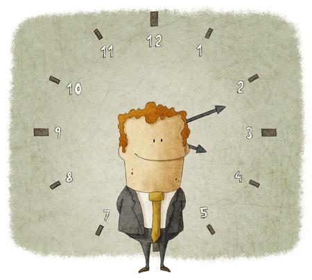 Illustratie van zakenman met klok op de achtergrond