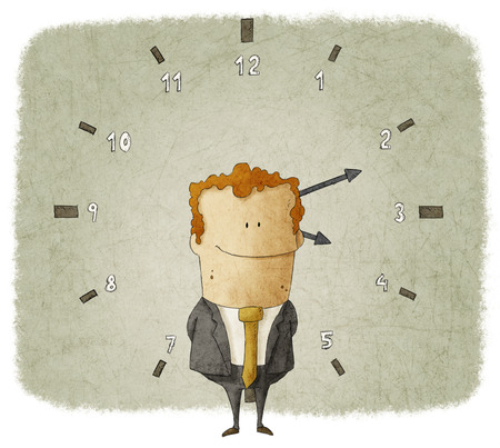 Illustration of businessman with clock in background