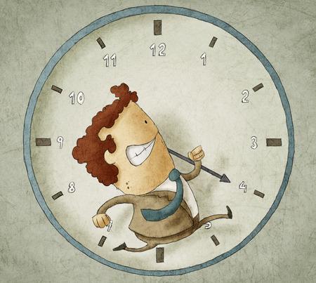 Illustratie van zakenman loopt in een klok Proberen om de klok te verslaan