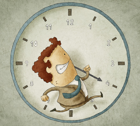 beat the clock: Illustration of businessman running inside a clock Trying to beat the clock