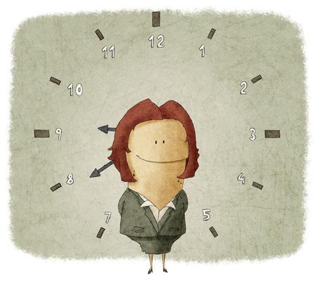Illustratie van zakenvrouw met klok in de achtergrond