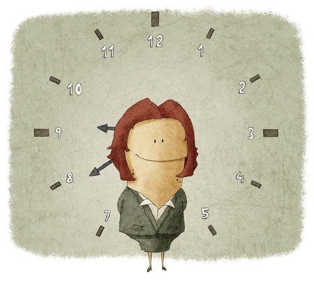 Illustration of businesswoman with clock in background