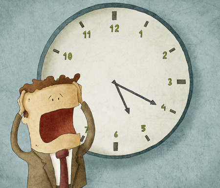 Illustration of a businessman worried out of time Foto de archivo