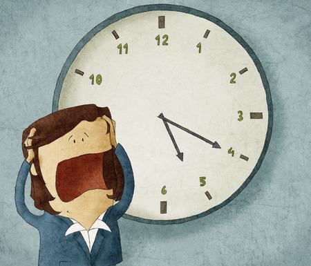 Illustratie van een zakenvrouw bezorgd uit de tijd