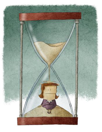stress management: Businesswoman in hourglass