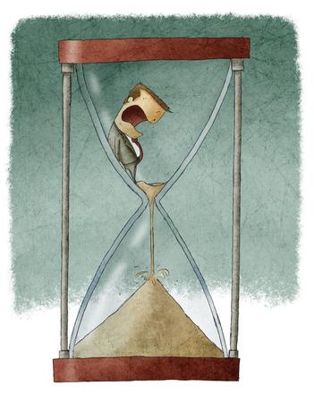 Man in hourglass photo