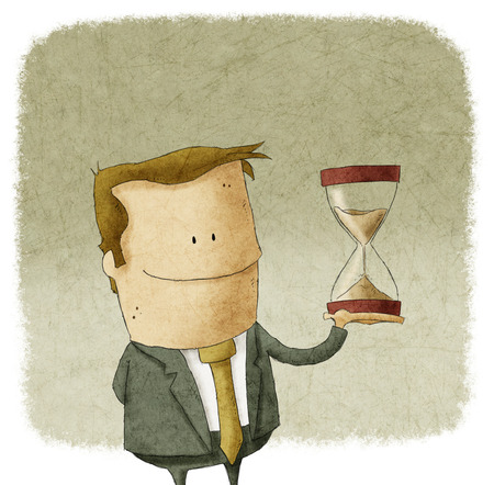 up time: Illustration of Businessman with hourglass in hand Stock Photo