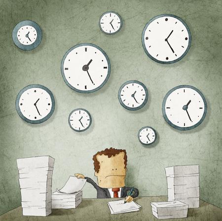 書類で溺れている実業家の壁時計します。 写真素材