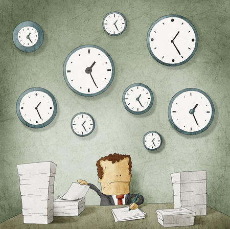 Businessman drowning in paperwork  Clocks on wall