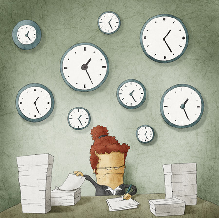 Businesswoman drowning in paperwork  Clocks on wall Stock Photo