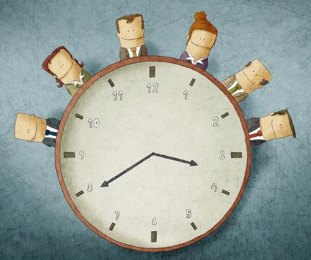 teamwork cartoon: Illustration of Business people on clock Stock Photo