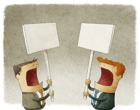 protester: two businessmen holding a sign protesting Stock Photo