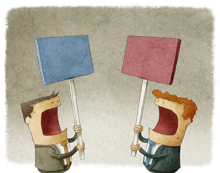 office politics: two businessmen holding a sign protesting with different opinions