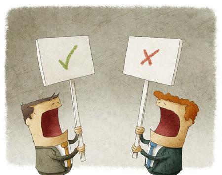 twee zakenlieden met een bordje protesteren met verschillende meningen