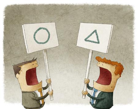 twee zakenlieden die een teken protesteren met verschillende meningen Stockfoto