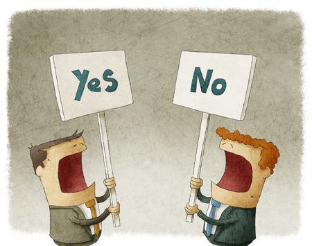 異なる意見との抗議看板を持っている 2 人のビジネスマン