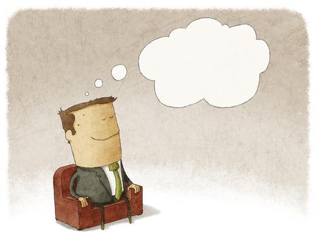 Ilustración del hombre de negocios sentado en un sillón, soñando