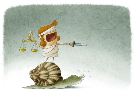 blind girl: Lady justice on top of a snail