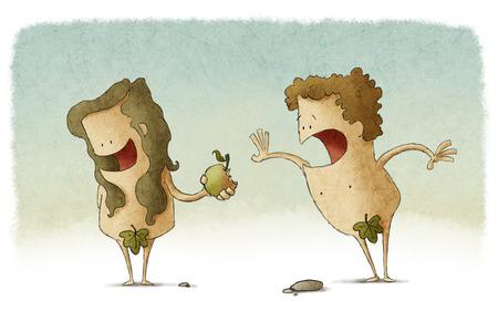 Adam en Eva en de zondeval Stockfoto