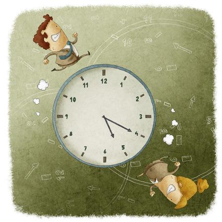 ビジネスの男性と女性の時計の周りを実行しています。