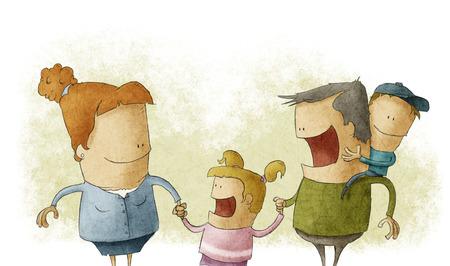 Los pares que dan a dos niños jóvenes sonriendo Foto de archivo - 28040261