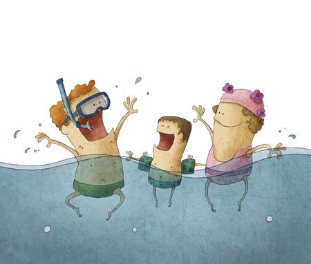 プールで家族を楽しんで笑顔