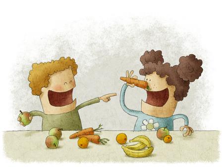 little girl eating: two preschoolers having break for fruits