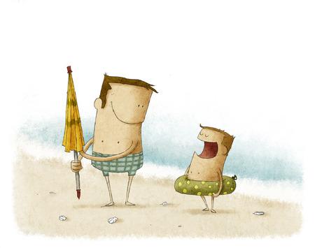 het opzetten van een paraplu op het strand