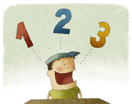 Illustration of kid counting three numbers Stock Photo