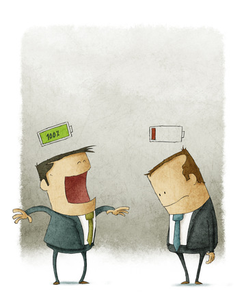 Gelukkig en ongelukkig zakenlieden met batterijen over het hoofd