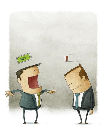 Hombres de negocios felices e infelices con pilas encima de la cabeza Foto de archivo