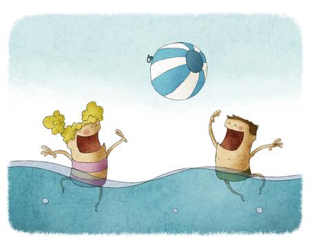 Jongen en meisje spelen met strand bal op het water