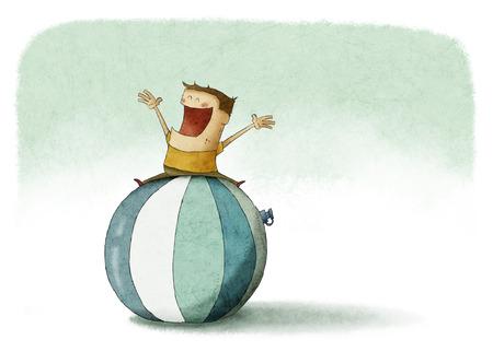 pilates ball: Kid over the top of a giant beach ball Stock Photo