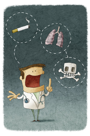 Doctor explaining the risks of smoking photo