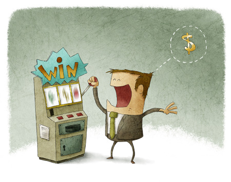 Illustratie van een zakenman gokken in gokautomaat