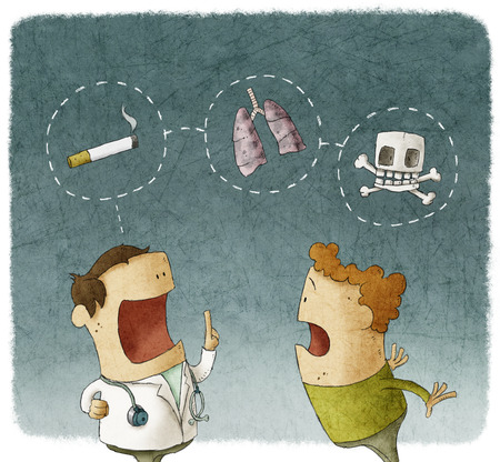 no talking: Doctor explaining to a patient the risks of smoking