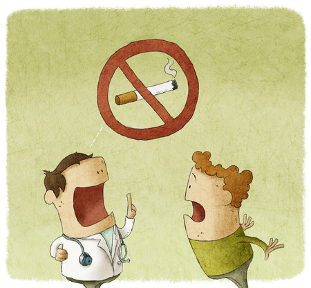 no talking: Doctor prohibiting smoking a patient