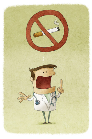 Illustration of doctor prohibiting smoking illustration