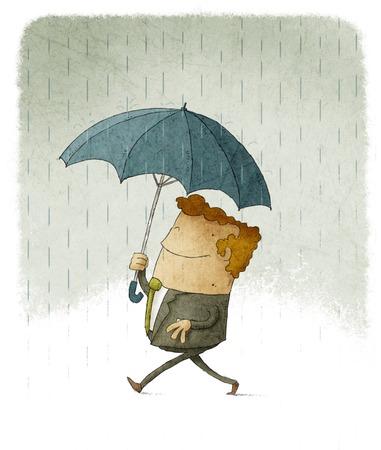 Sonriente hombre de negocios en la lluvia bajo un paraguas