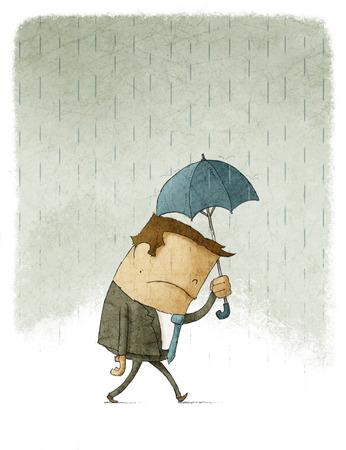 Ilustración del hombre de negocios deprimido caminar bajo el paraguas Foto de archivo