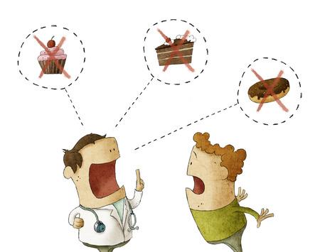 Doctor in gesprek met de patiënt niet eet zoete voedsel zoals snoep en gebak op een witte achtergrond Stockfoto