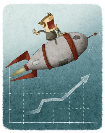 Zakenman zittend op een raket en vliegen over een financiële grafiek Stockfoto