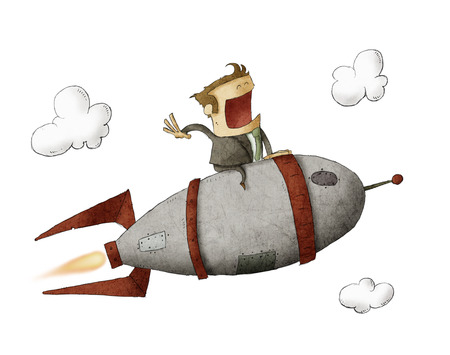 Businessman sitting on a rocket and flying through the air over isolated background